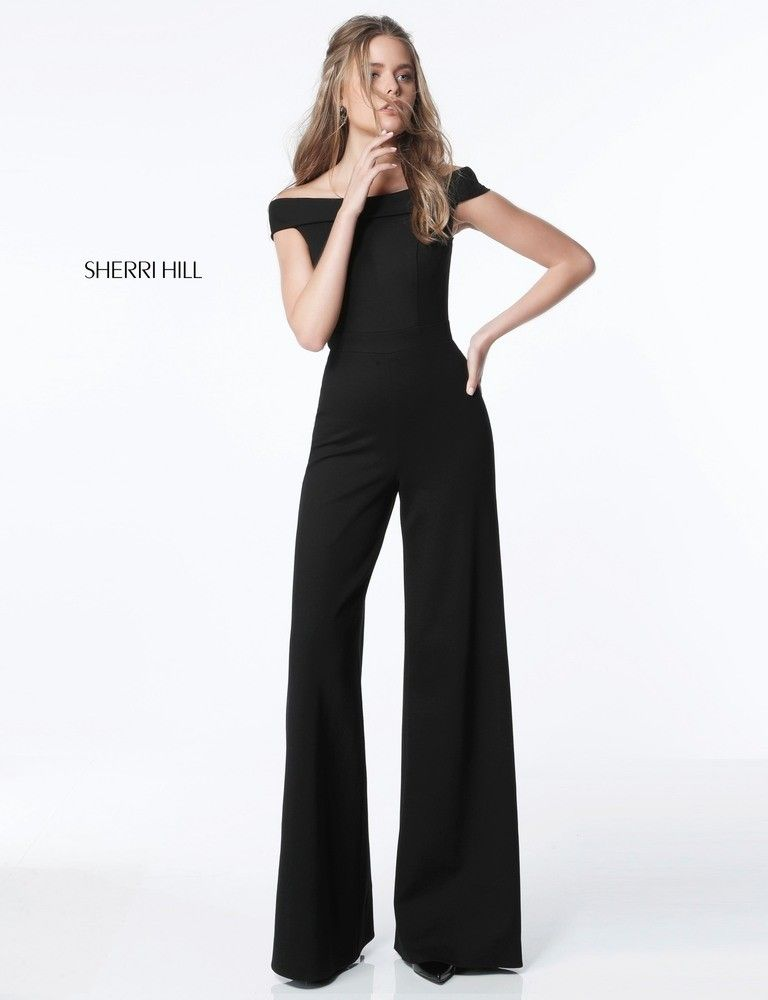 aea8aa6c963 Sherri Hill 51433 Off-The-Shoulder Jersey Jumpsuit