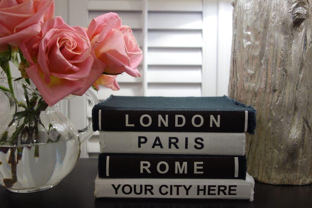 London Paris Rome Custom City Canvas Book Set 10 Each Black White