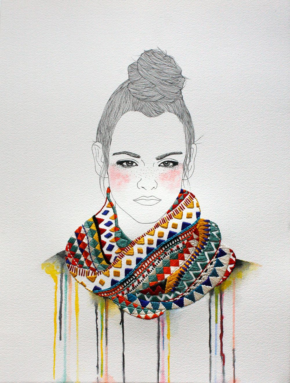 Fashion illustrations with embroidered accents and accessories by
