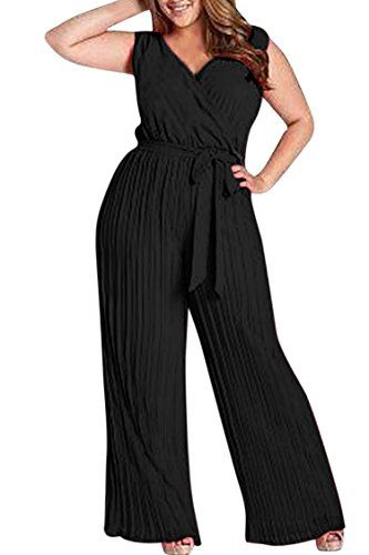 47cc2a3366d Women s Plus Size Sexy V Neck Ruched Sleeveless Top Long Jumpsuit Romper  4XL Black Church Outfits