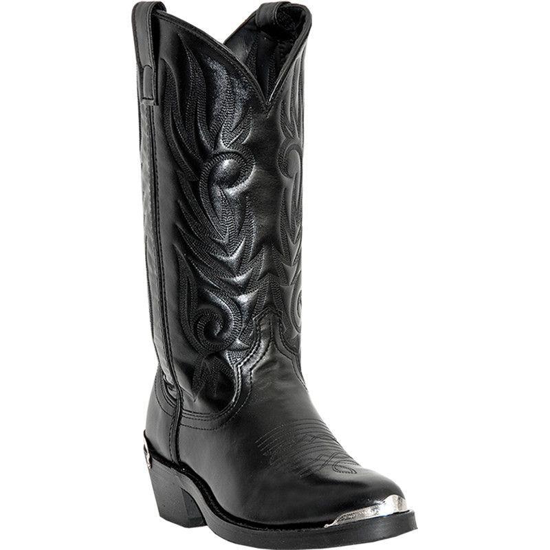 laredo mens black leather mccomb r toe 13 quot quot stitch cowboy