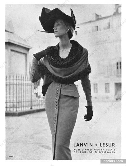 Jeanne Lanvin 1950 Robe d'après midi en Clariz, Lesur, Astrakan, Photo Skilford