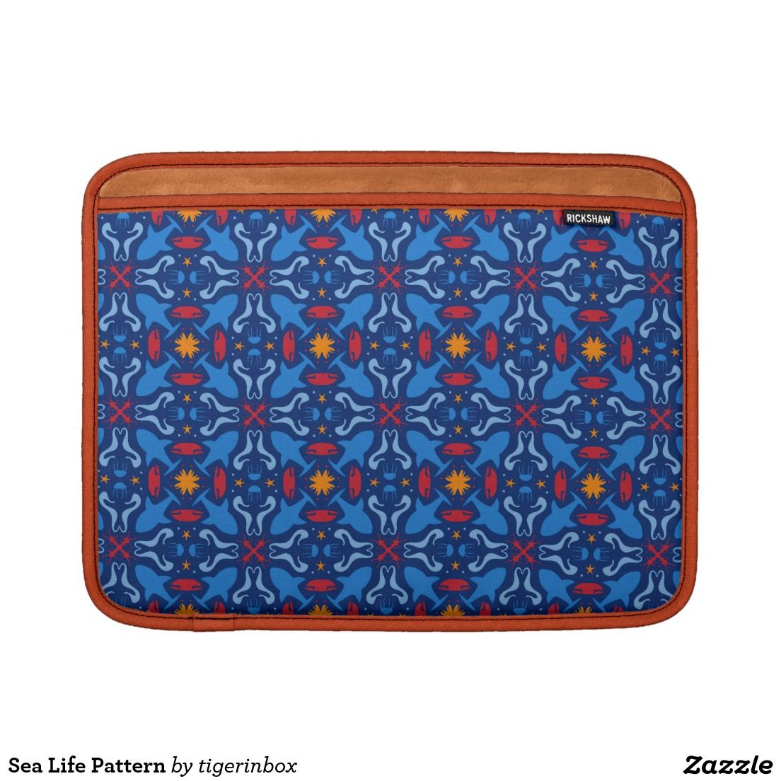 Rickshaw MacBook Air sleeve with orange interior lining. Cute marine beings (such as sharks, starfishes, seahorses, squids, jellyfishes, red corals) create a sea life themed pattern.