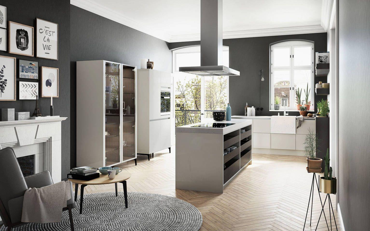 Zicht Op De Siematic Urban S2 Se Open Keuken In Sterlinggrijs Met