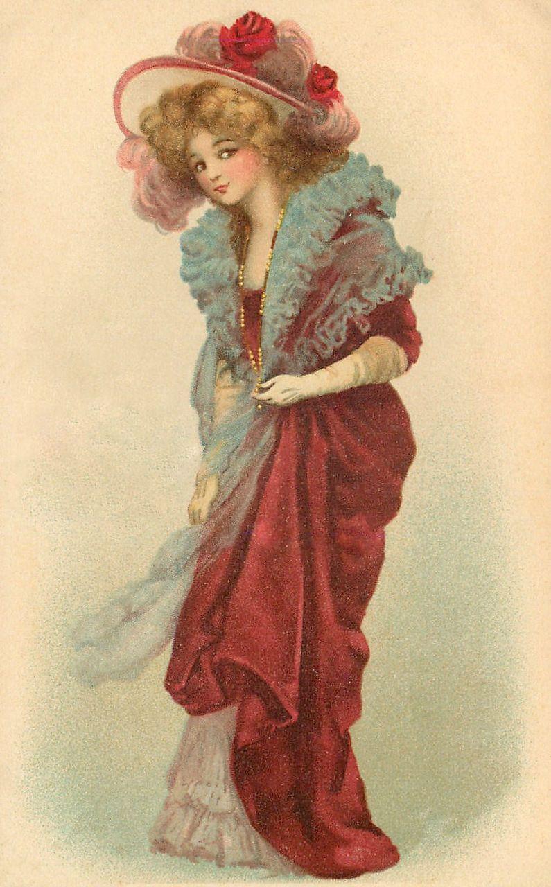 Старинные открытки дамы