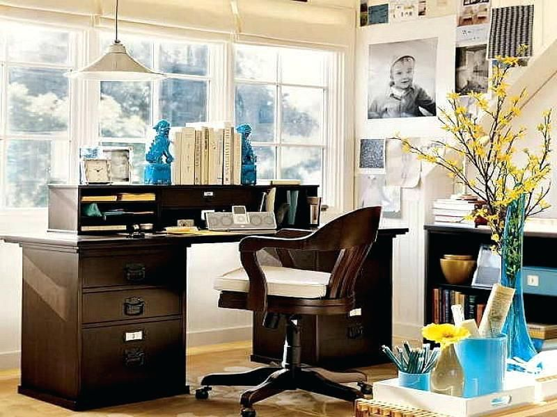 Decorate Corporate Office Rustic Home Offices Space Shelves