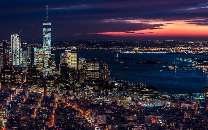 Download Wallpapers New York Darkness Panorama Skyscrapers Usa Nyc America Besthqwallpapers Com Fondo De Pantalla De Nueva York Rascacielos Paisaje Urbano