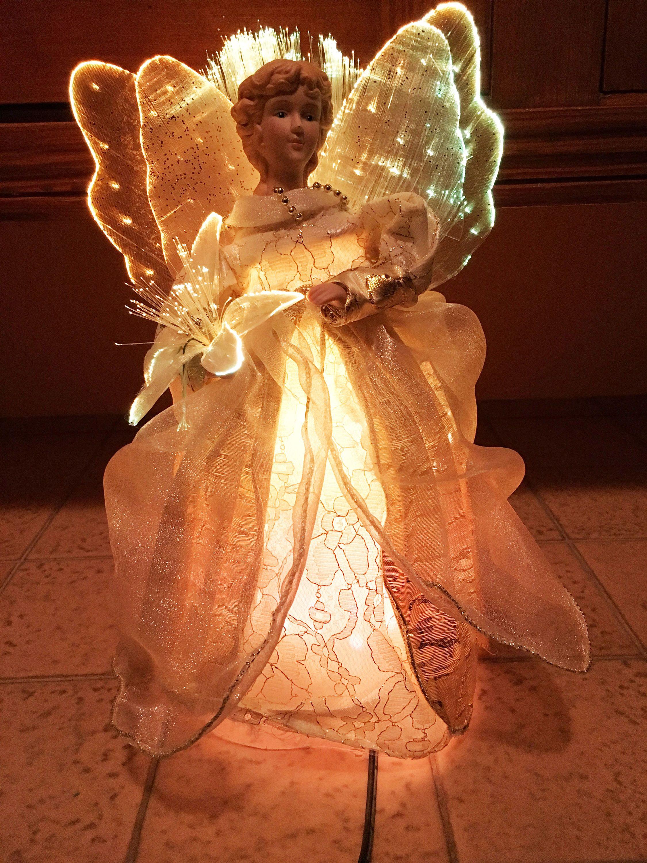 Angel Light Vintage Christmas Tree Topper Fiber Optic Lamp For Holiday Decor