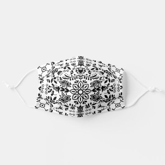 Cute Black And White Floral Scandinavian Bandanna