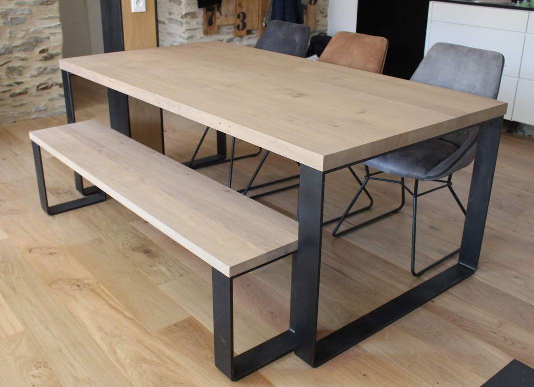 Pied de table rectangulaire large pour cuisine  Table bois et fer