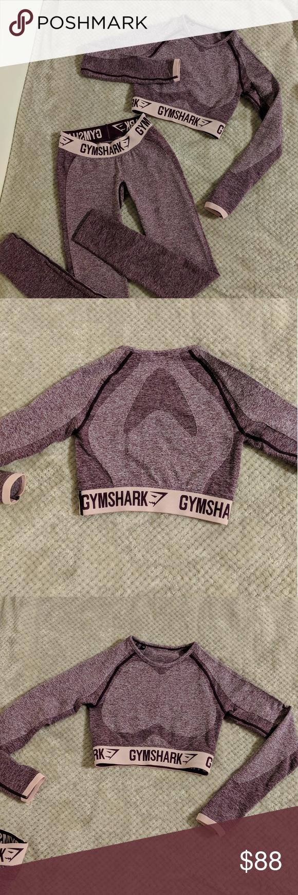 64a00eb2dac91 Advertisement; Gymshark Flex set: dark ruby marl/ blush nude Long sleeve  crop top. Full