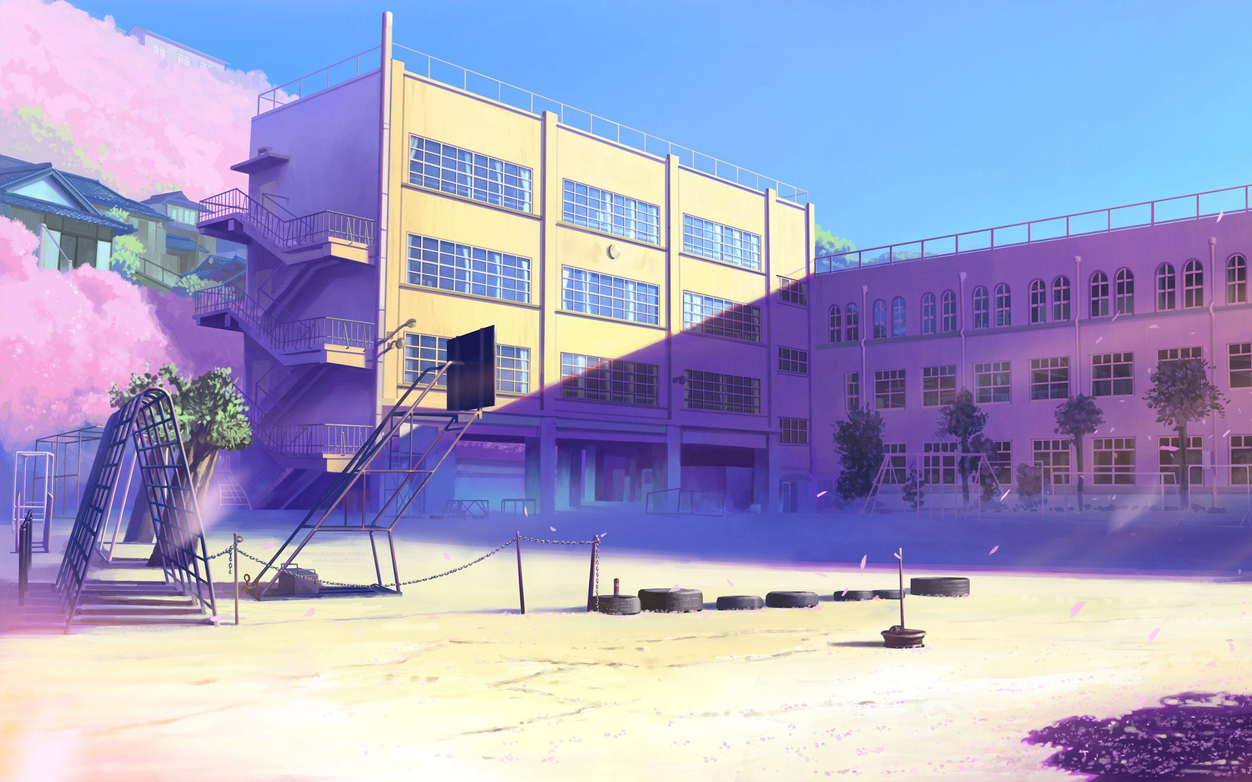 School Yard Image Cenario Anime Cenario Para Videos Fundo De Animacao