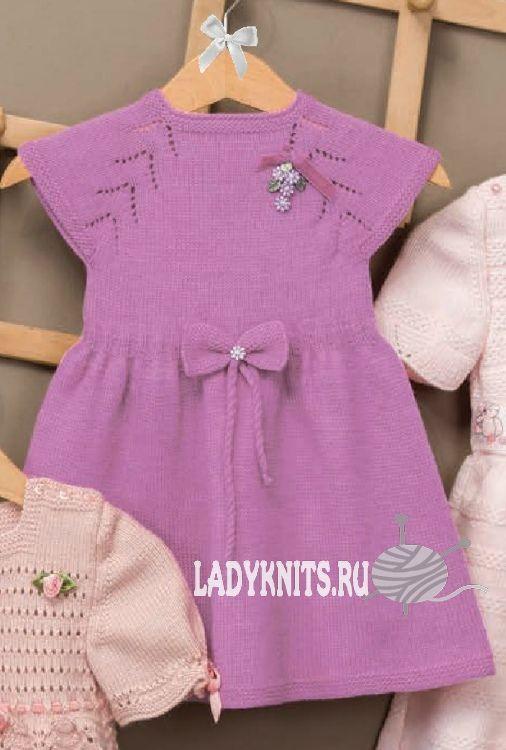 нарядное детское платье спицами Knit Crochet For Little