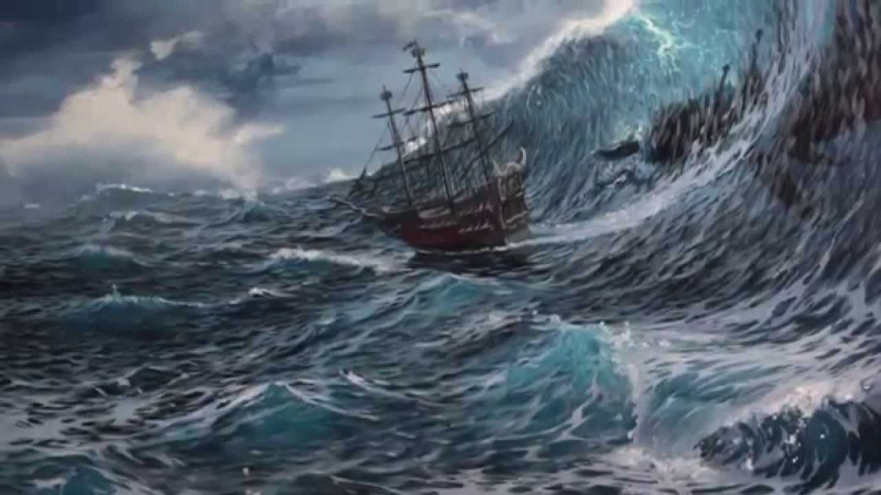 It is an image of Epic Ocean Scene Drawing