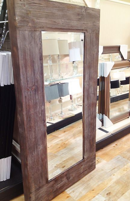 Modern rustic wood floor mirror home goods austin for Big salon mirrors
