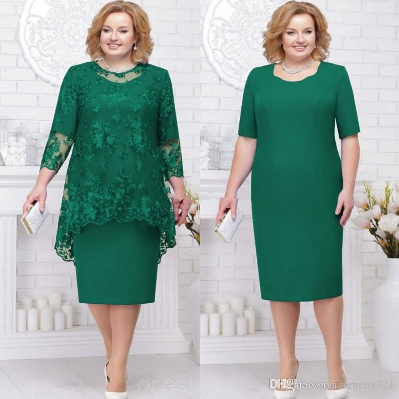 Hunter green plus size mother of the bride groom dresses
