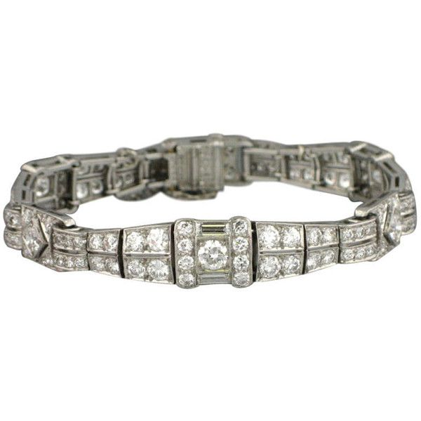 TIFFANY CO Art Deco 1920s Platinum Diamond Bracelet ❤ liked on