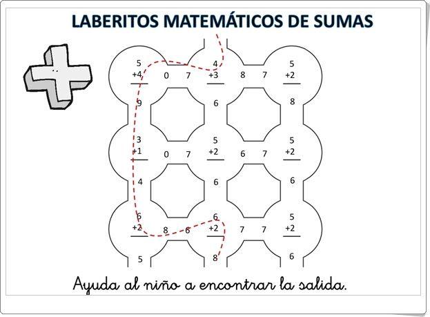 Laberintos matemáticos de sumas hasta el 9\