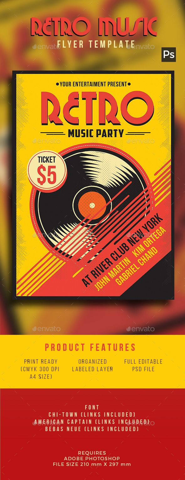 Retro Music Flyer  Music Flyer Flyer Template And Color Text