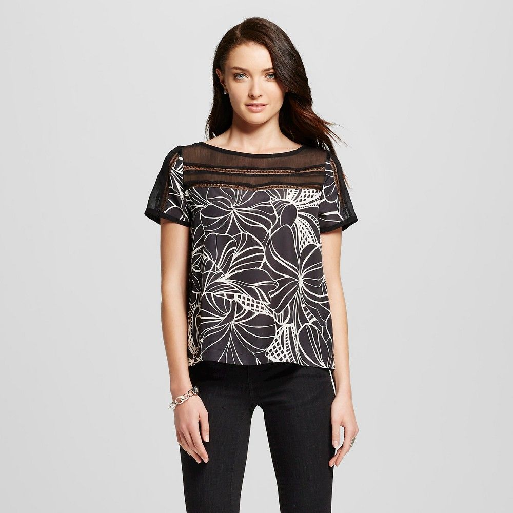 Women's Floral Printed Illusion Woven Top - Black/Cream