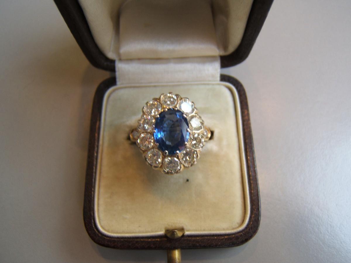Préférence Bague pompadour saphir de Ceylan et diamants, Le Lys D'or  HD96