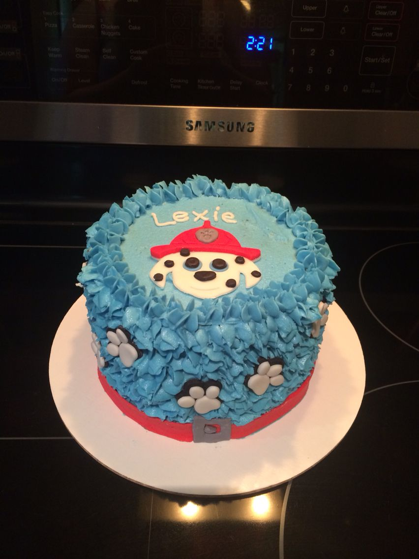 Paw patrol buttercream birthday cake with colored paws All for O