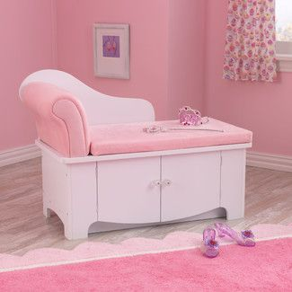 Kidkraft Princess Kids Chaise Lounge With Storage Compartment Girls Bedroom Furniture Kids Chaise Furniture