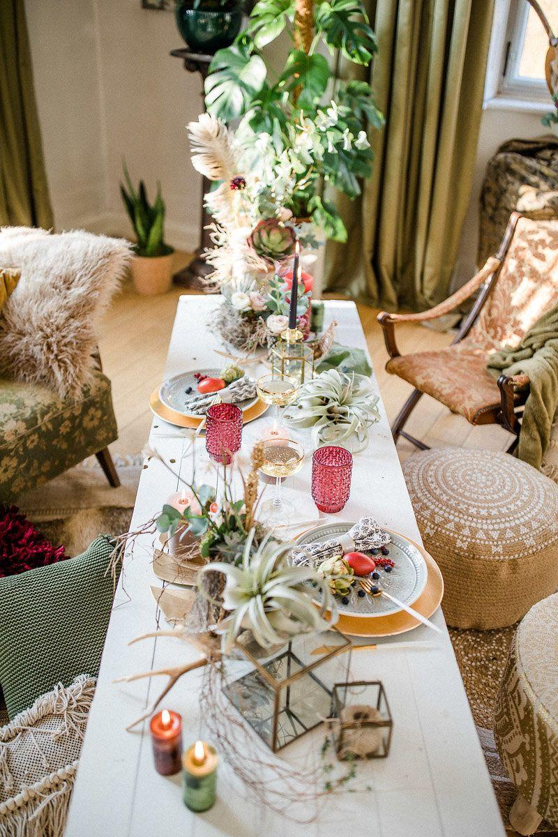 Boho Hochzeit Mit Pampasgras Tischdekoration Boho