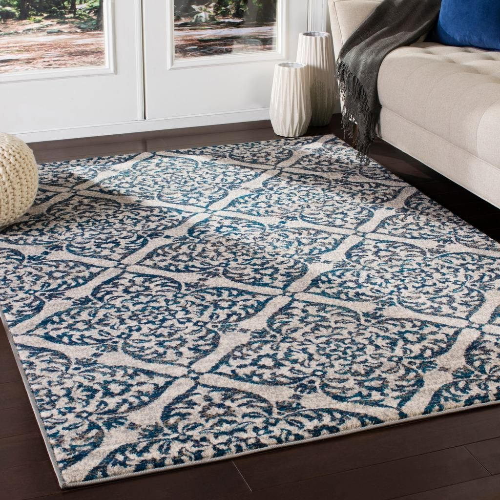 Transitional Floral Trellis Navy Blue Gray Ivory Area Rug In
