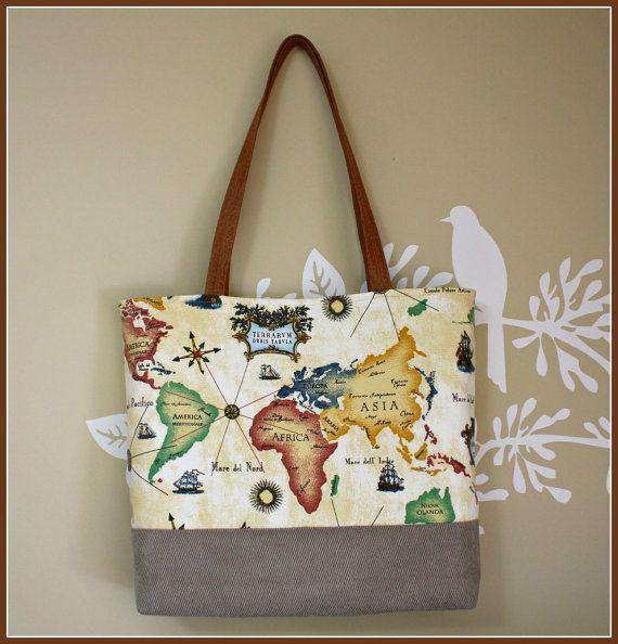 World maptotebag handbag purse with map printed fabric world map bag tote messenger bag with map printed fabric on etsy 4500 gumiabroncs Images