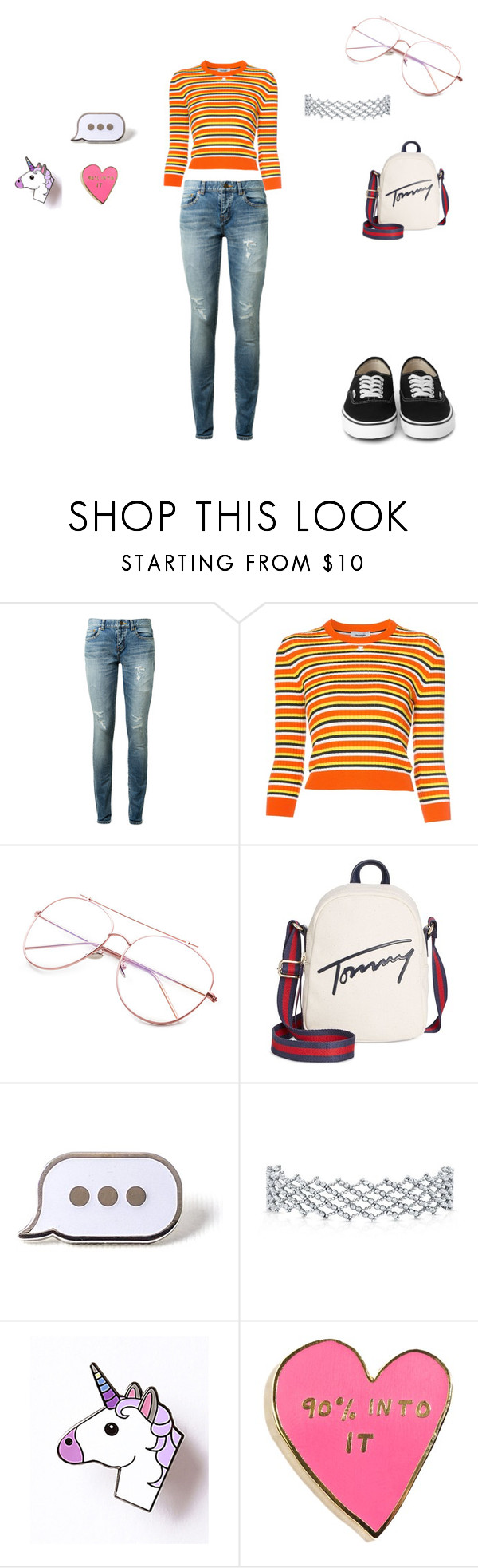 """""""Untitled #1815"""" by shadow-dxlvi on Polyvore featuring Yves Saint Laurent, Courrèges, Tommy Hilfiger, PINTRILL and Valley Cruise Press"""