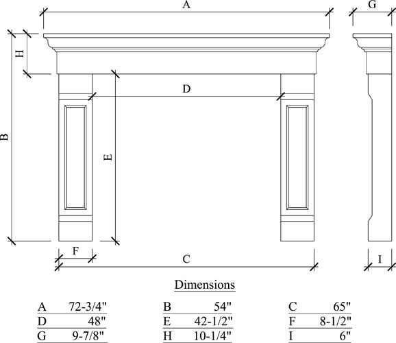 Use this one fireplace dimensions