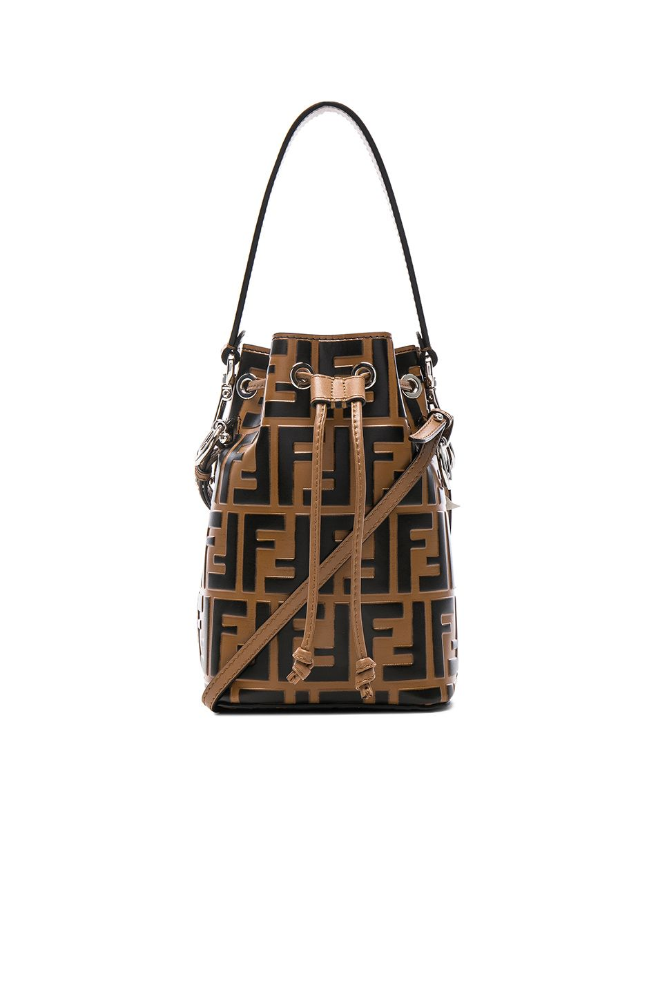 Image 1 of Fendi Logo Print Mon Tresor Crossbody in Tobacco   Black ... 45d368201c5f7
