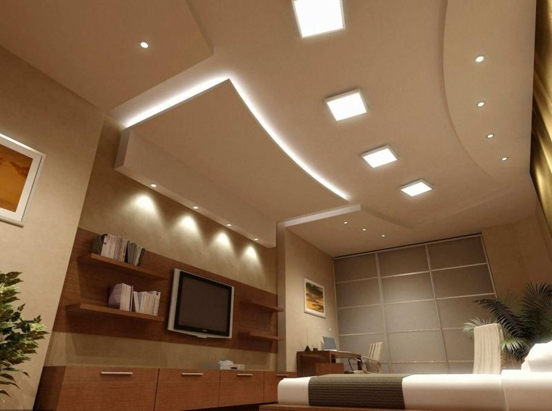 ein wohnzimmer mit deckensegel und integrierter indirekter beleuchtung - Wohnzimmerdecken