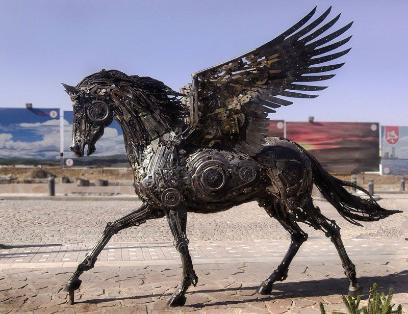 Steampunk Pegasus Made From Scrap Metal By Hasan Novrozi - Salvaged scrap metal transformed to create graceful kinetic steampunk sculptures