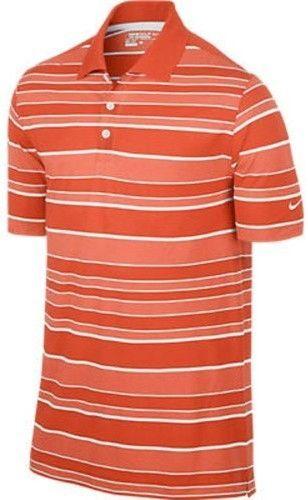 cb585350 Nike Men's Dri-Fit Bold Stripe Golf Polo Shirt-Orange-Small ...