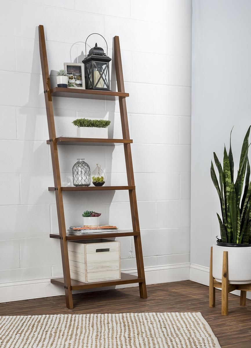 Wooden leaning ladder rack with shelves u dark brown diy