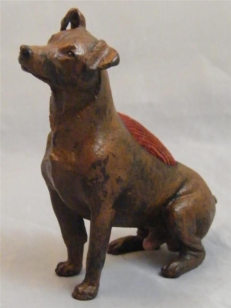 COLD PAINTED BRONZE JACK RUSSELL PIN CUSHION FIGURINE