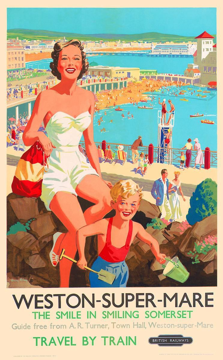 British Rail Weston Super Mare Railway Poster A3//A2 Print