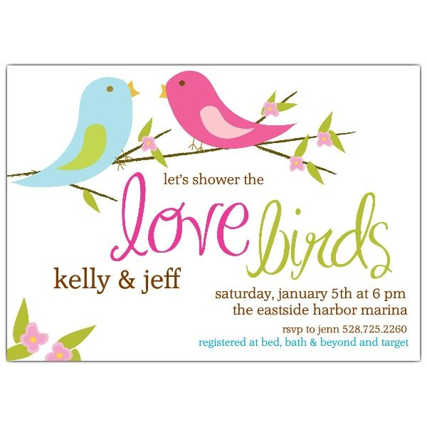 Love Birds Bridal Shower Invitations Shower Ideas – Couples Shower Wedding Invitations