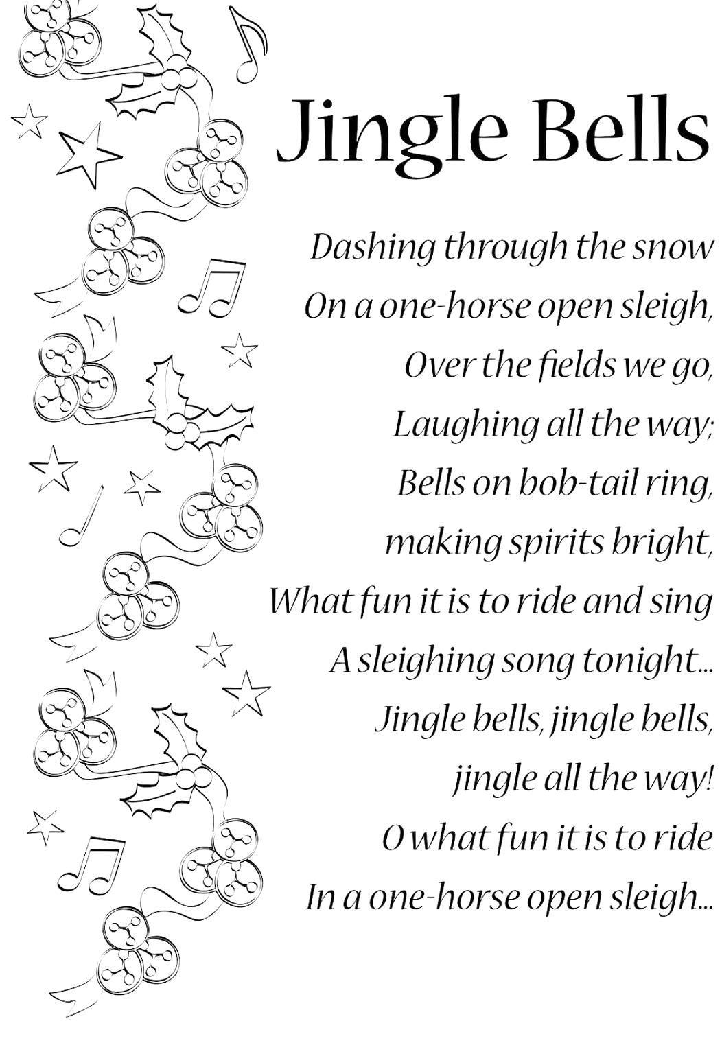 Lyrics To Jingle Bells English Songs And Rhymes Lyrics In 2020 Christmas Songs Lyrics Christmas Lyrics Christmas Carols Lyrics