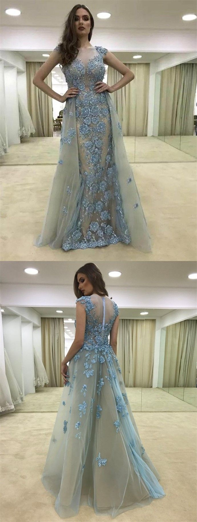 Mermaid crew detachable light blue tulle appliques prom dress with