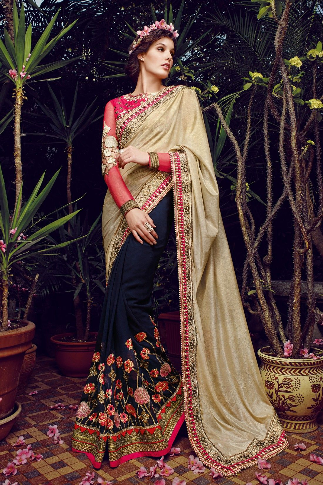 6996b602a3 Beige and Blue Faux Georgette and Crepe Saree with Embroidered and Lace  Work - Z2134PAY-SR-SL-857-51