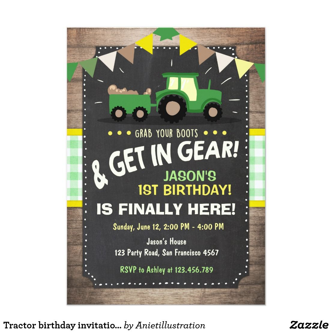 Tractor Birthday Invitation Farm Party