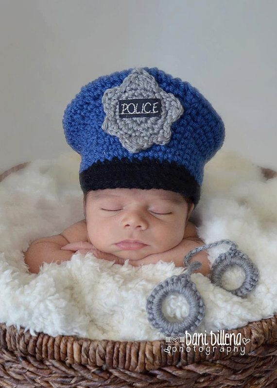 4954fefddc7 Policeman Hat and Handcuffs by MadhatterknitsCo on Etsy