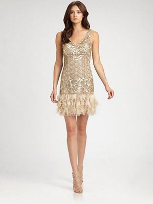 Sue Wong Feather-Trimmed Sequined Dress Sue Wong