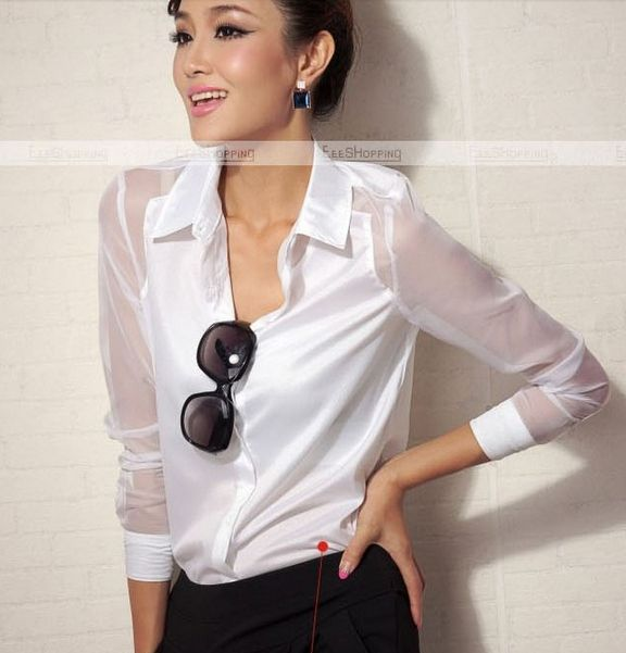 women's Long Sleeve Shirt Gold Thread Embroidery Lapel Collar ...