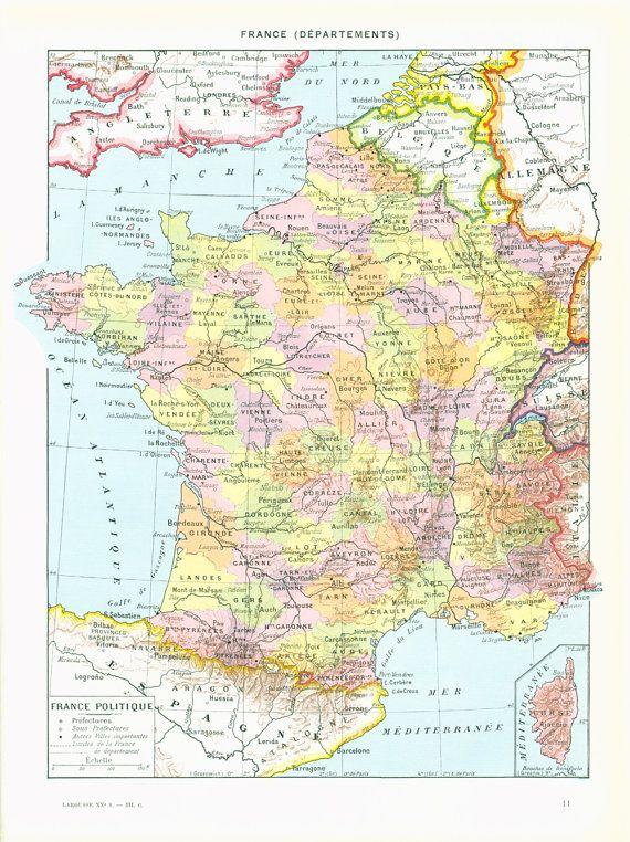 1933 Vintage Map of France. Antique Historical Map. Encyclopedia ...