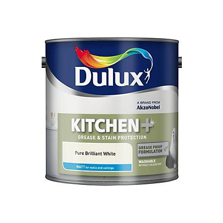 Dulux Kitchen Pure Brilliant White Matt Emulsion Paint For Ceiling And Inside Cupboards Dulux Painting Bathroom Pure Products