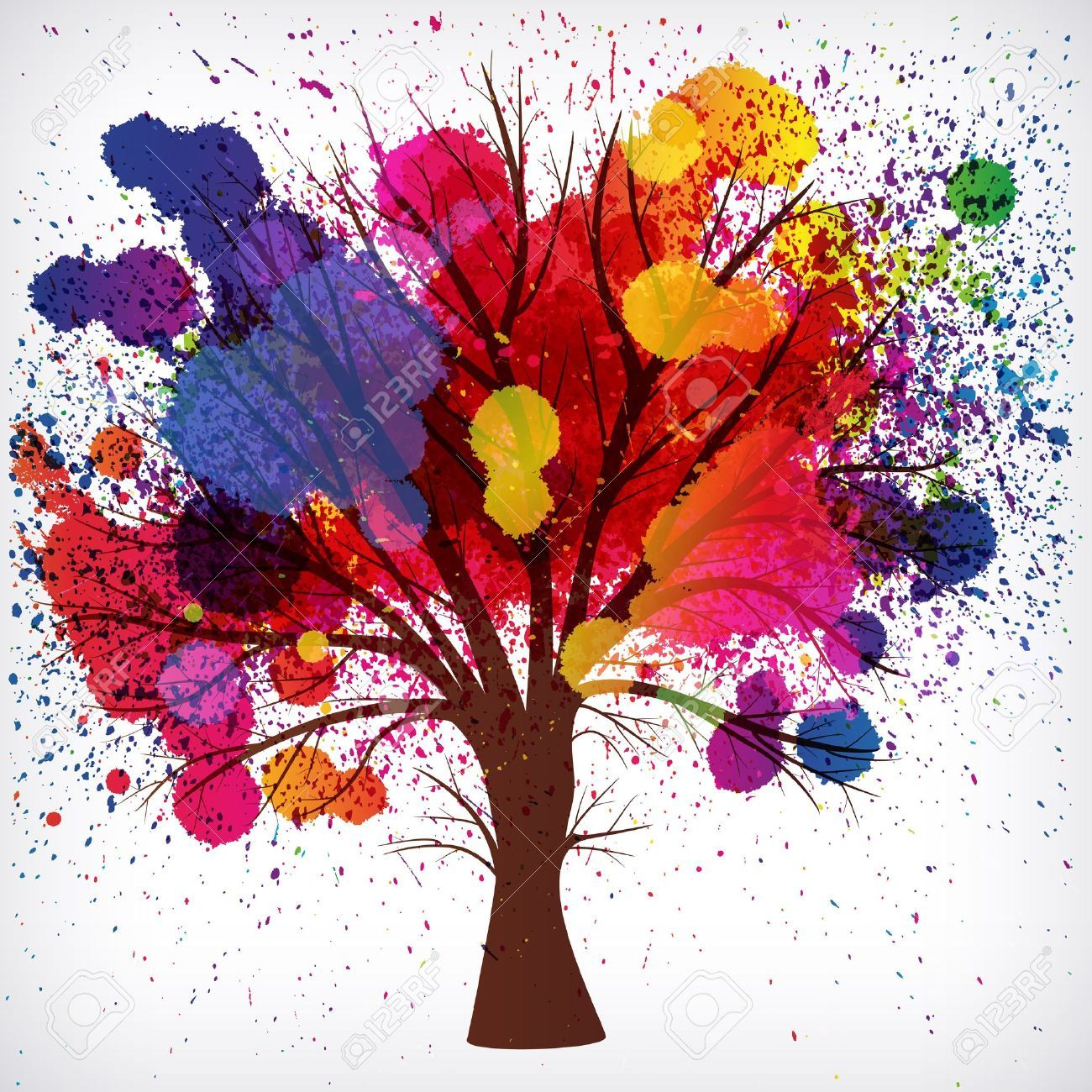 abstract background tree with branches made of watercolor